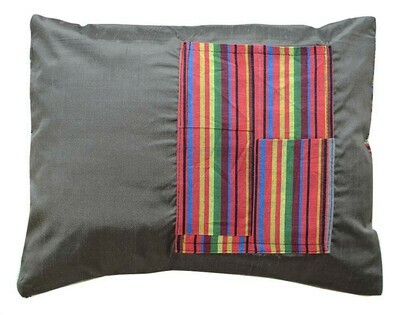 Gray bekasam pillow cover with a book pocket