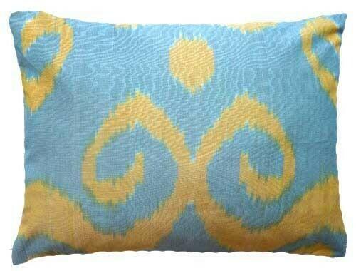 """Yellow swirl"" boudoir ikat pillow cover"