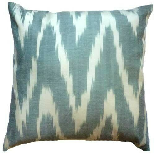 """""""Zigzag faded green and beige"""" euro size ikat pillow cover"""