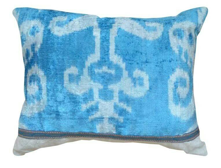 Light blue silk velvet ikat pillow cover