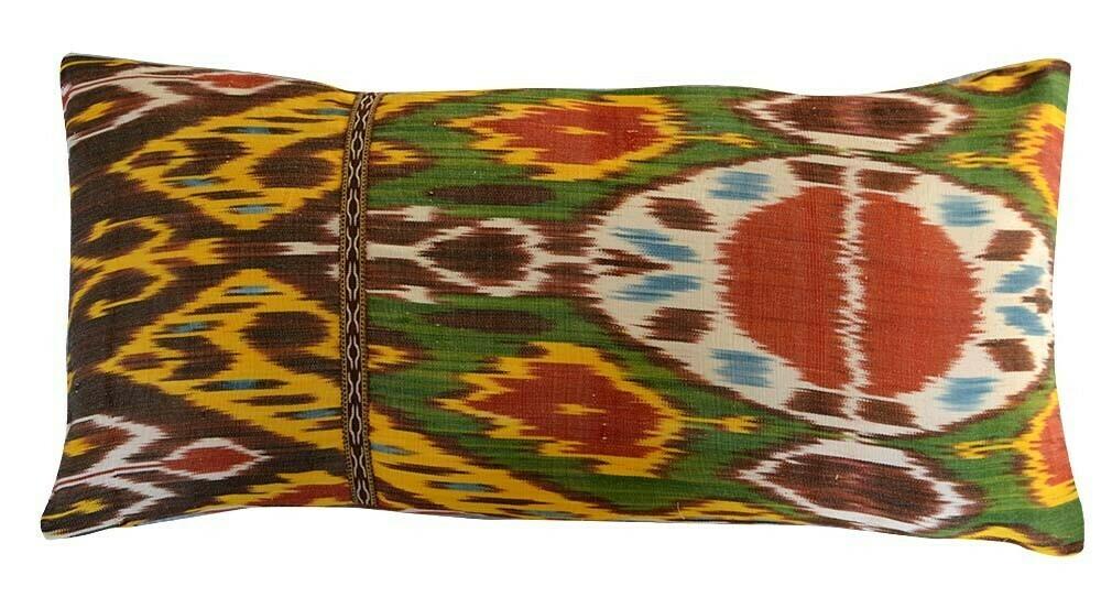 """""""Wisdom"""" lumbar ikat pillow cover with a trim"""