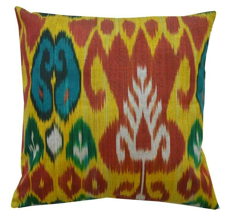 """Saffron and tulips""  ikat pillow cover"
