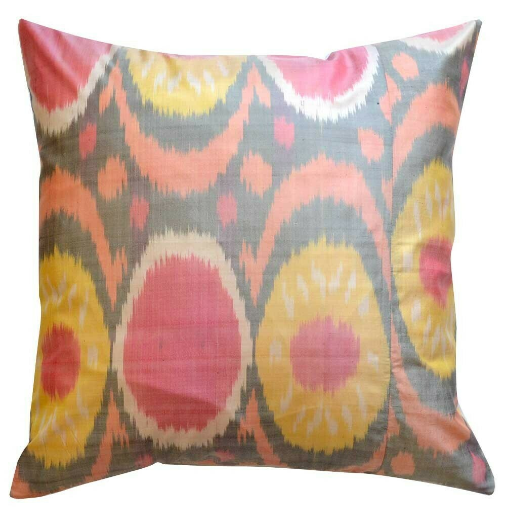 """Sun salutations""  square pure silk ikat pillow cover"