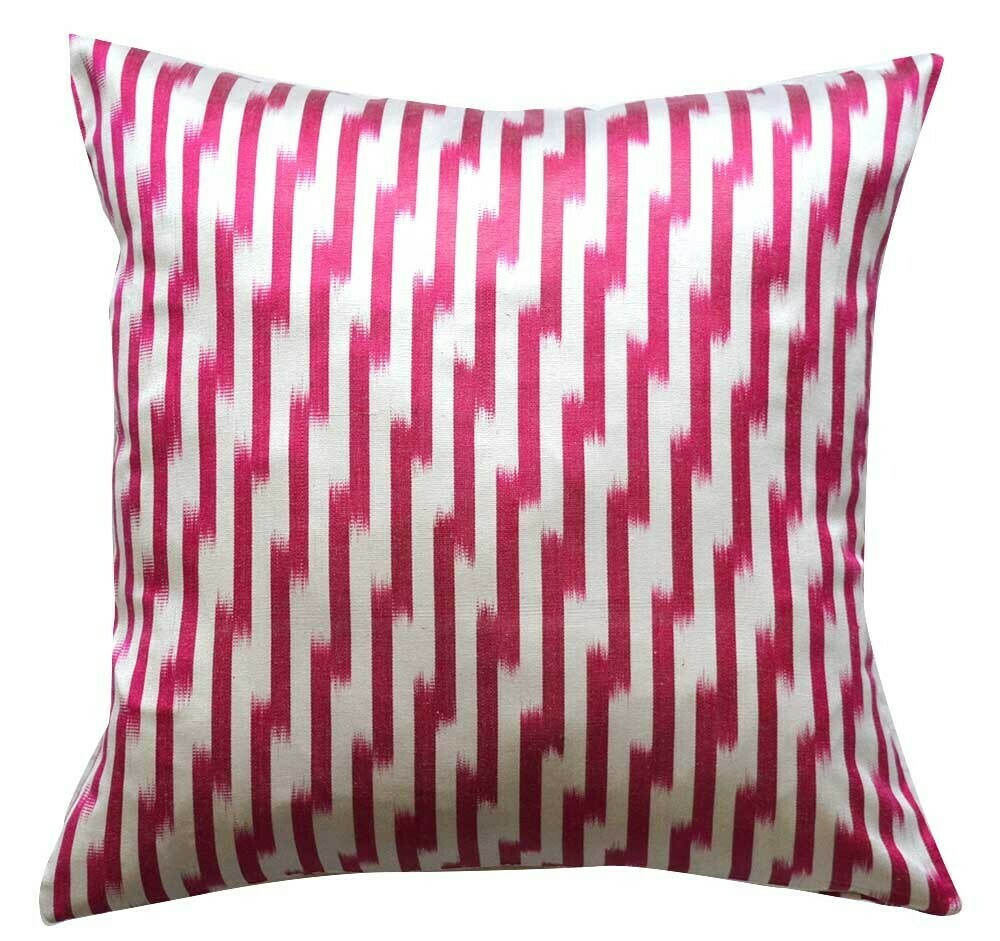 Square pink ikat pillow cover
