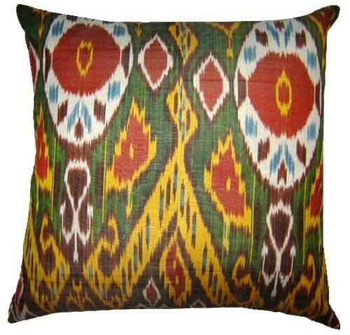 """Wisdom"" euro size ikat pillow cover"
