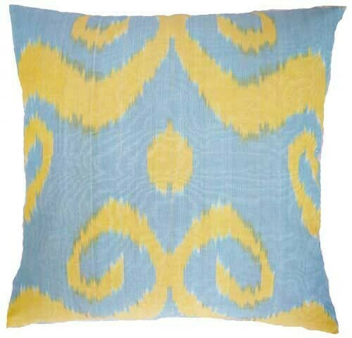 """""""Yellow swirl"""" square ikat pillow cover"""