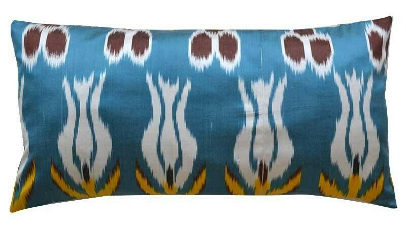 """""""Turquoise blue"""" lumbar ikat pillow cover"""