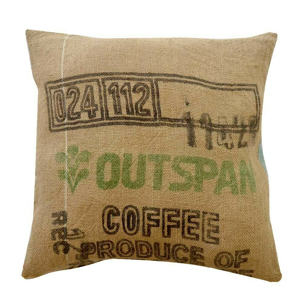 Green zigzag ikat and burlap square ikat pillow cover