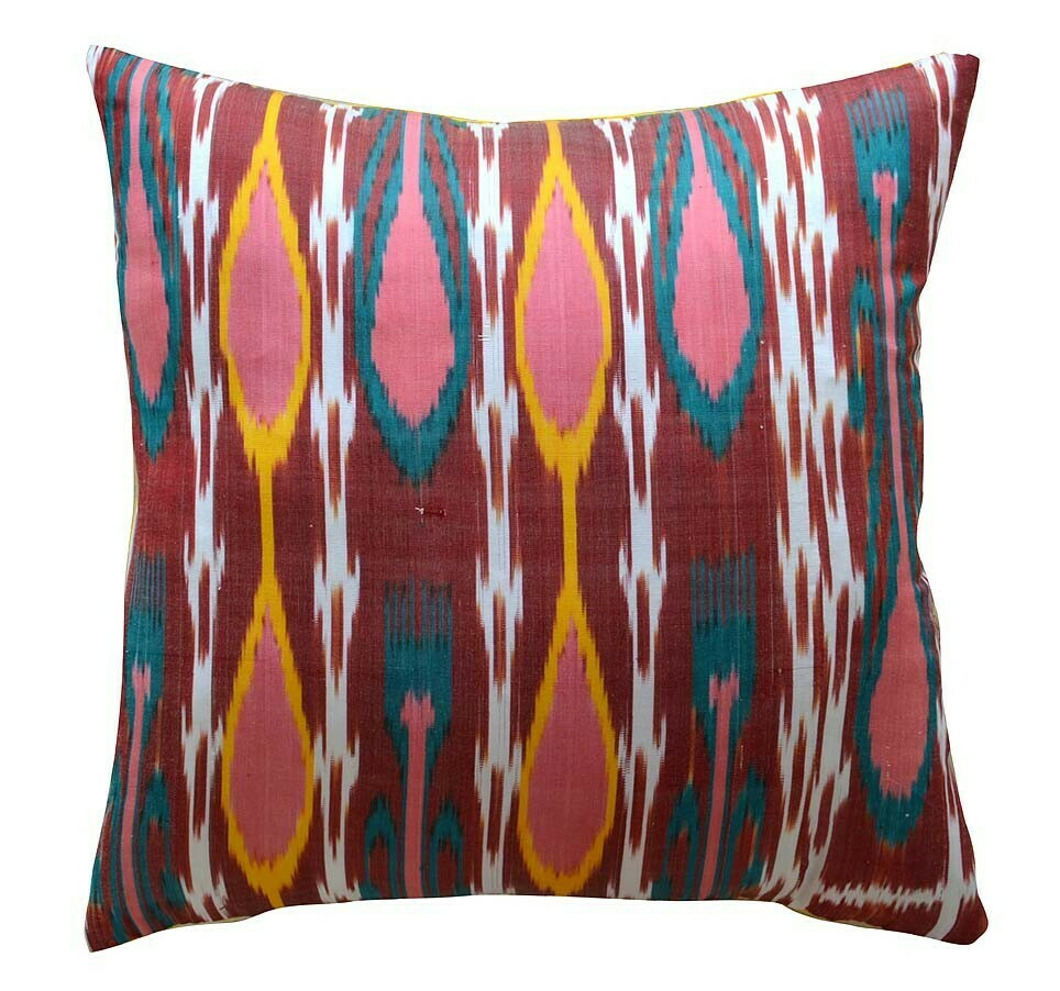 """Sun energy""  ikat / yellow handknit pillow cover"