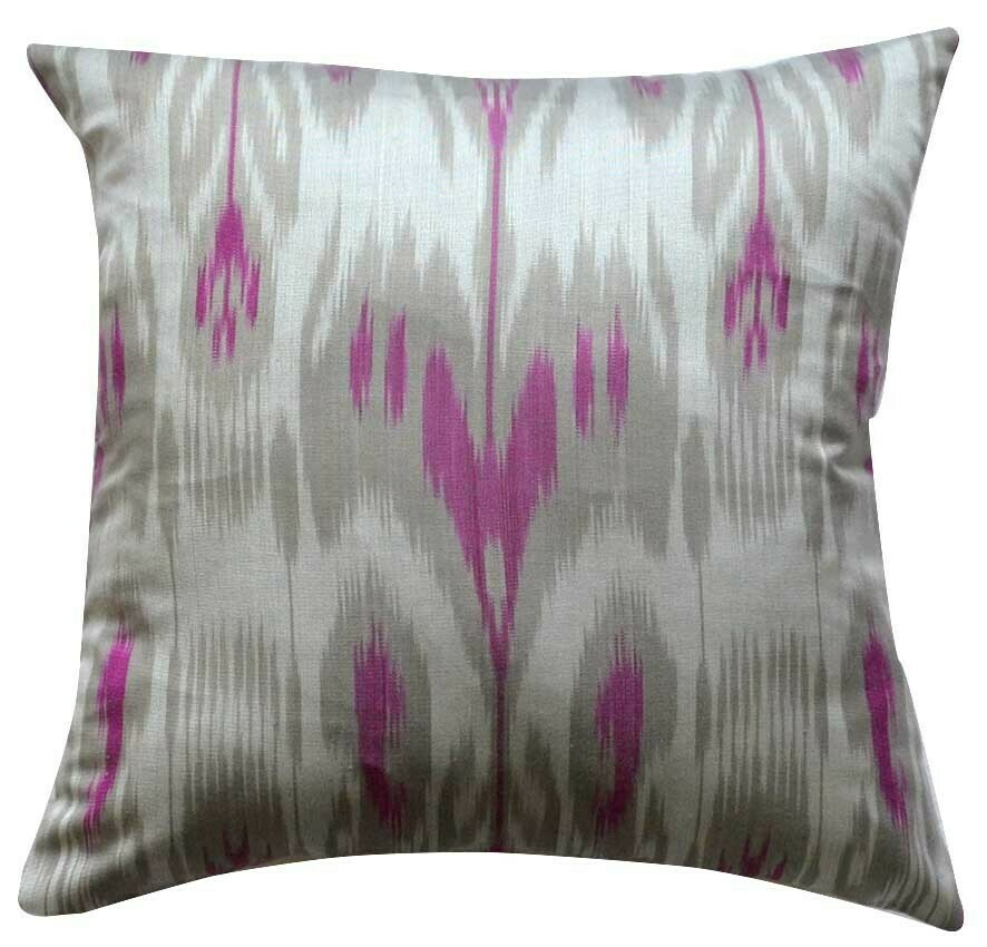 Silver gray square ikat pillow cover