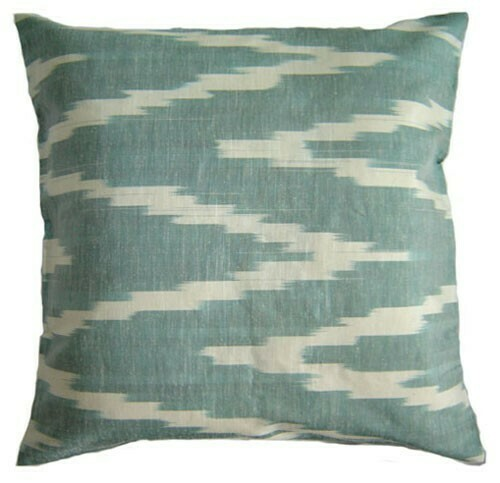 """""""Zigzag faded green and beige"""" 20"""" (50cm) ikat pillow cover"""