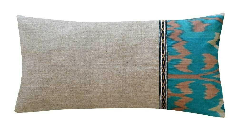 """""""Ikat + linen"""" lumbar pillow cover"""