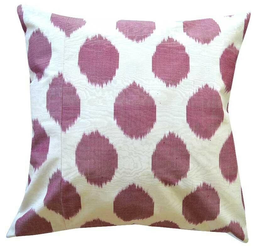 Purple and white polkadot ikat pillow cover