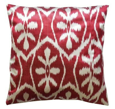 Marsala red ikat pillow cover