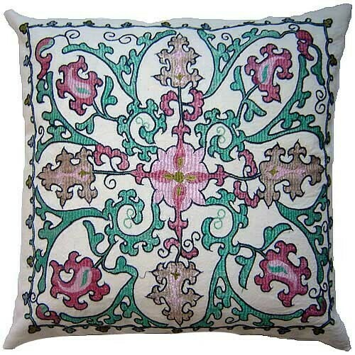 Floral silk embroidered pillow cover