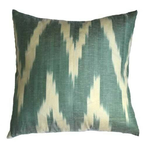 """Zigzag faded green and beige""  16"" (41cm) square ikat pillow cover"