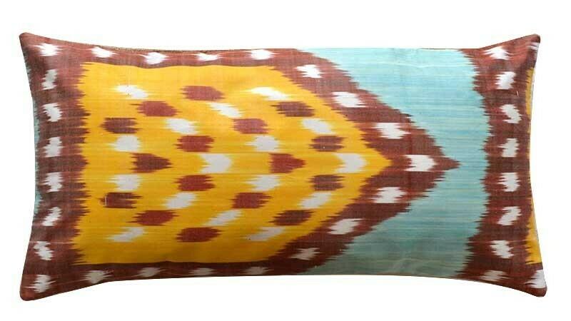 """""""Mehrab Ikat + Burlap"""" lumbar pillow cover"""