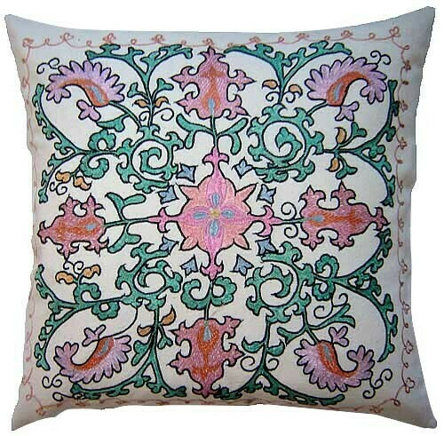 """""""Roxanne"""" hand embroidered pillow cover"""
