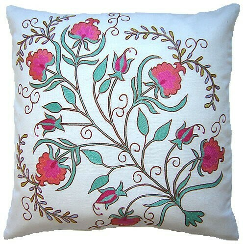 """""""Bloom"""" suzani hand embroidered pillow cover"""