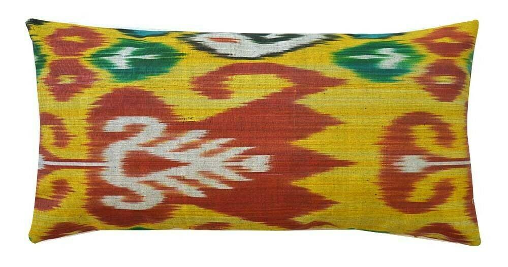 """""""Saffron and tulips"""" lumbar ikat pillow cover"""