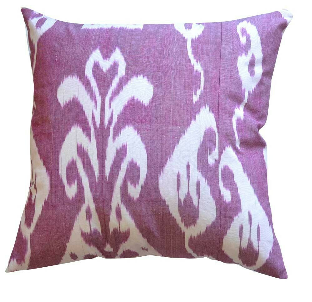 """Pale plum""  square ikat pillow cover"