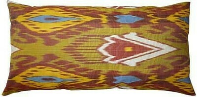Olive and red lumbar ikat pillow cover