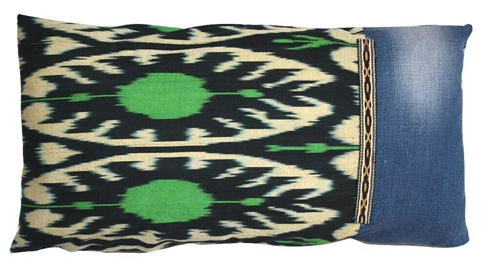 Eco green ikat and old jeans lumbar size pillow cover