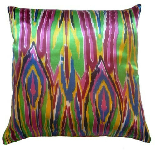 """Neon city lights""square ikat pillow cover"