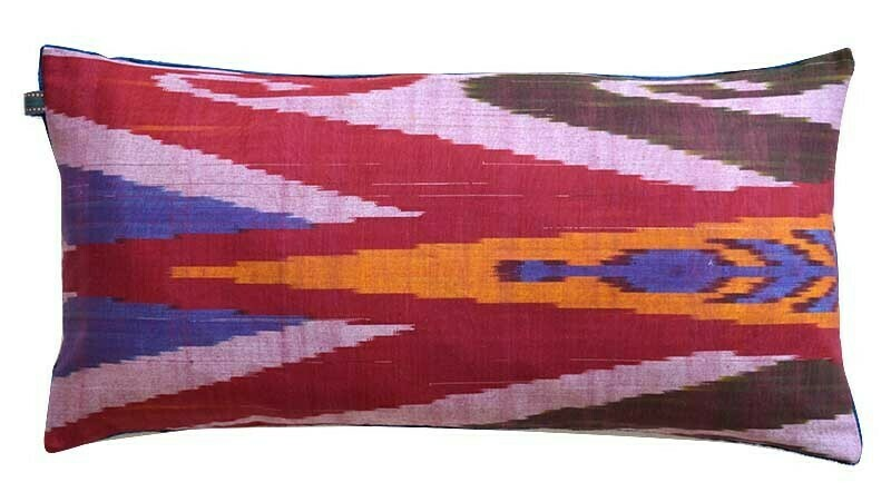 """""""Ikat the Surreal"""" red and blue velvet ikat pillow cover"""