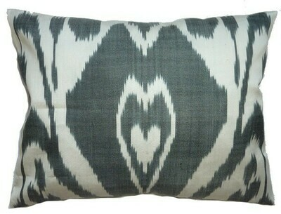 As Is - Ikat in black and white boudoir pillow cover