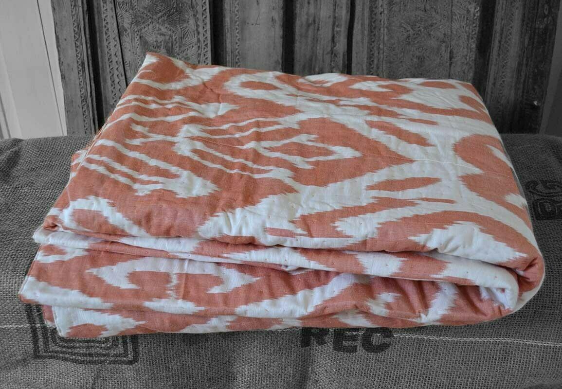 """Abrikos"" cotton silk ikat bedspread"