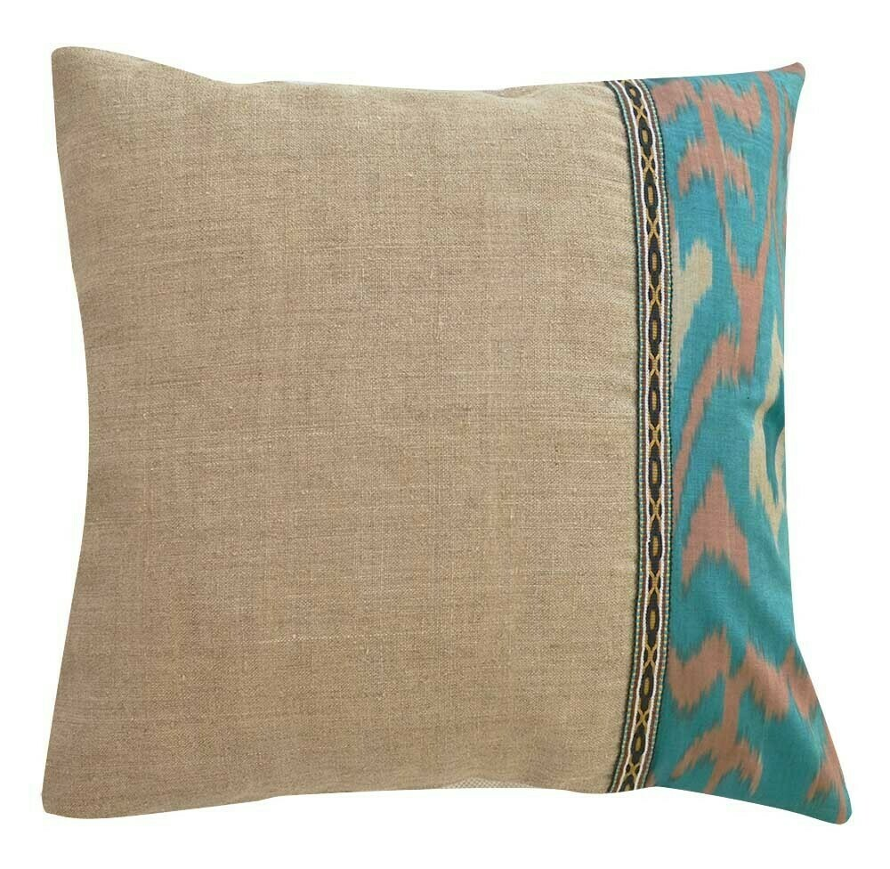 Ikat and linen square ikat pillow cover