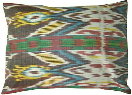 """Ikat flames"" boudoir ikat pillow cover"
