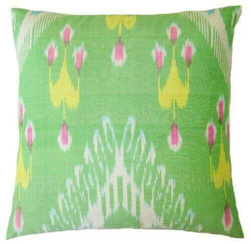 """""""Cool mint"""" square ikat pillow cover"""