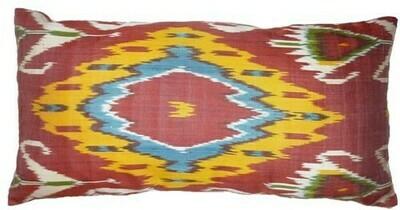 Red, yellow and blue lumbar ikat pillow cover