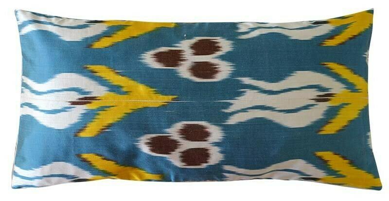"""""""Turquoise blue II"""" lumbar ikat pillow cover"""