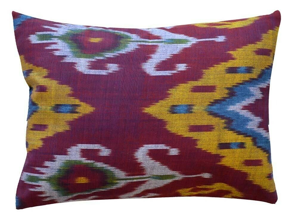 Bordeau boudoir size ikat pillow cover