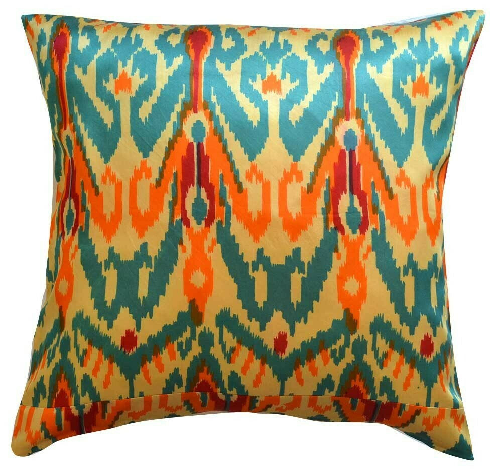 """As Is  - """"Teal and orange"""" square ikat pillow cover"""