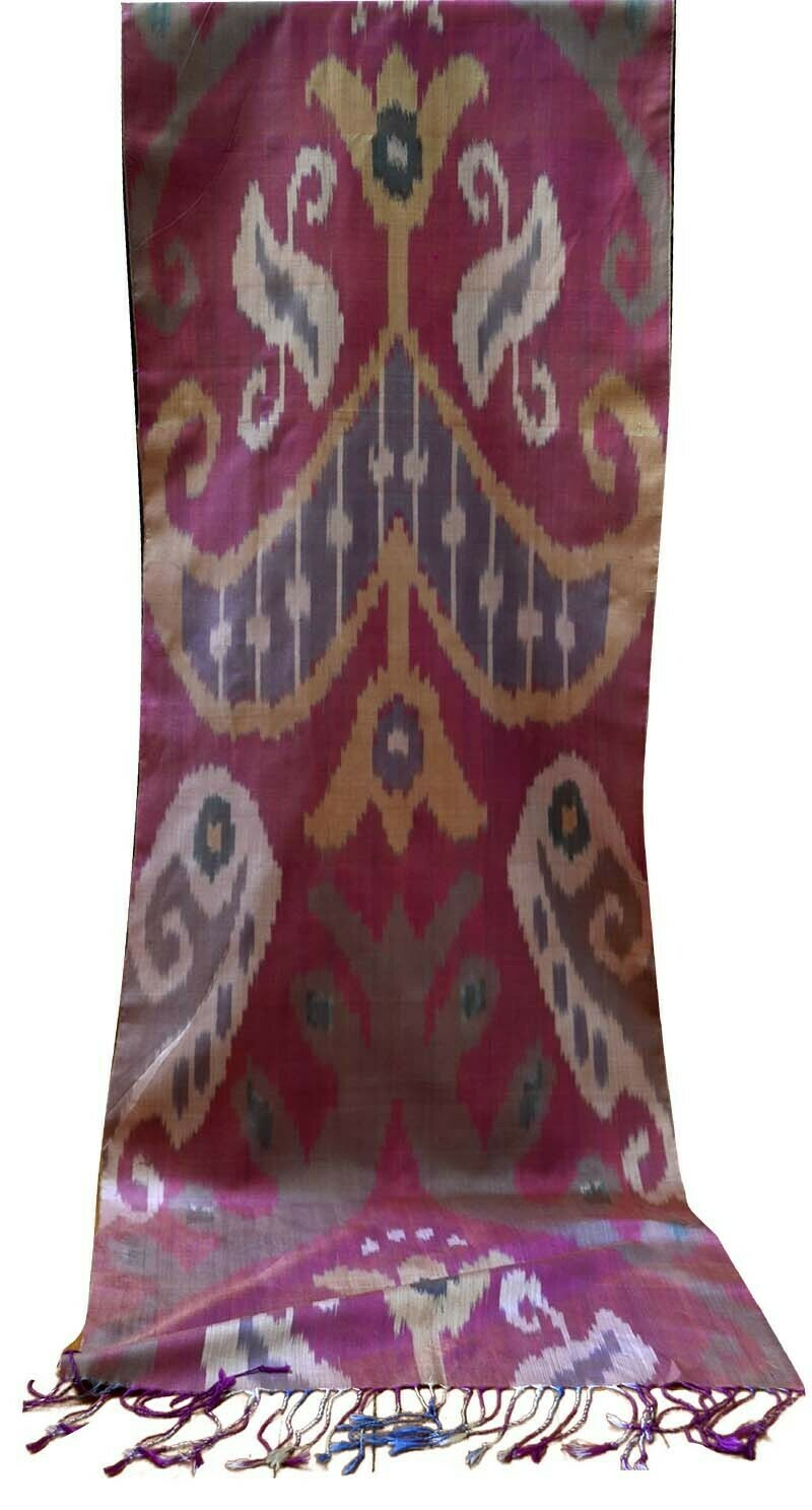 Red, taupe and beige pure silk ikat scarf