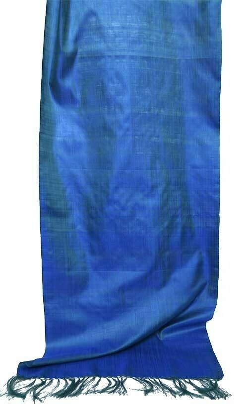 """Blue / seaweed green"" solid silk scarf"