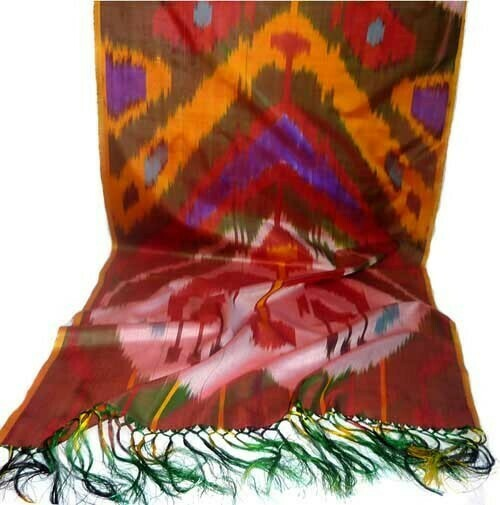 """Dance of fires"" silk ikat scarf"