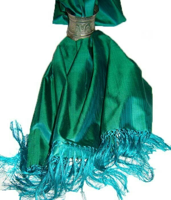 Electric green silk scarf
