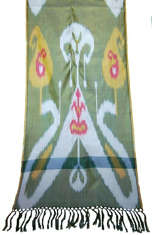 """As is - """"Butterfly ikat"""" silk ikat scarf with weaving flaws"""