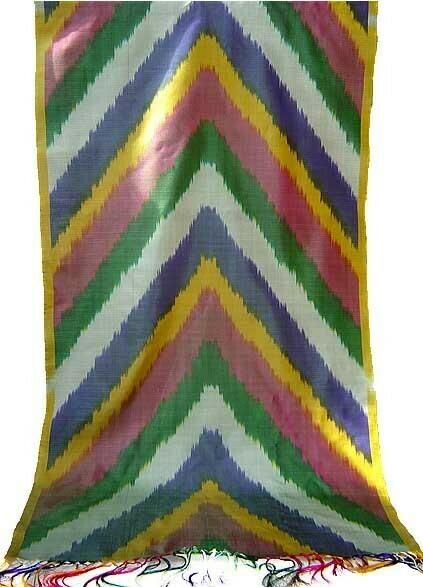 Multicolor stripe silk ikat scarf