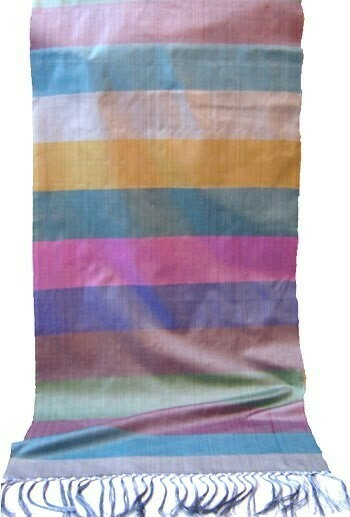 Pure silk scarf in colorful stripes