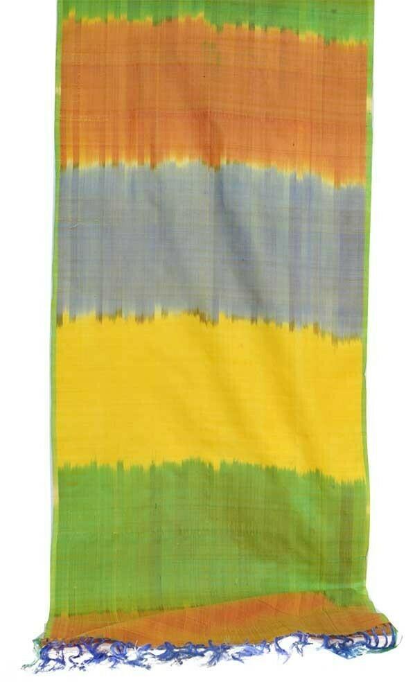 """Rainbow"" silk ikat scarf"
