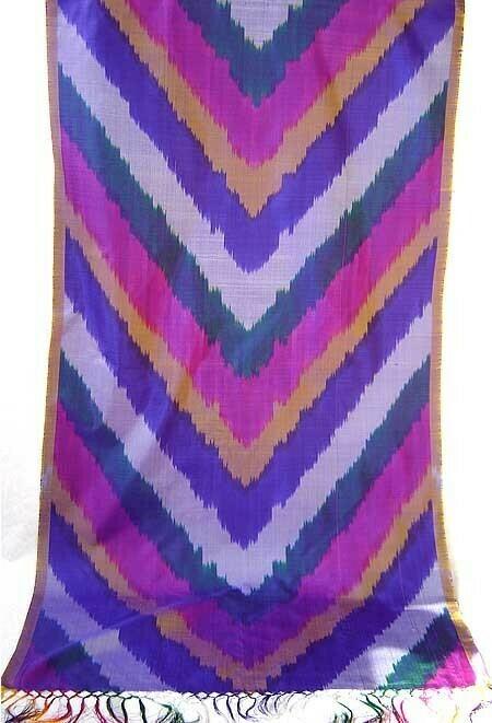 Purple magenta pure silk ikat scarf