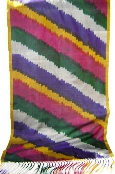 """""""Ikat Stripes Due"""" silk ikat scarf"""