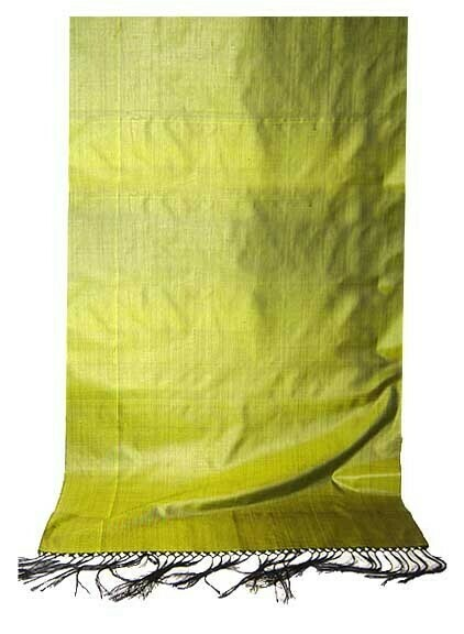 Lime color solid silk scarf