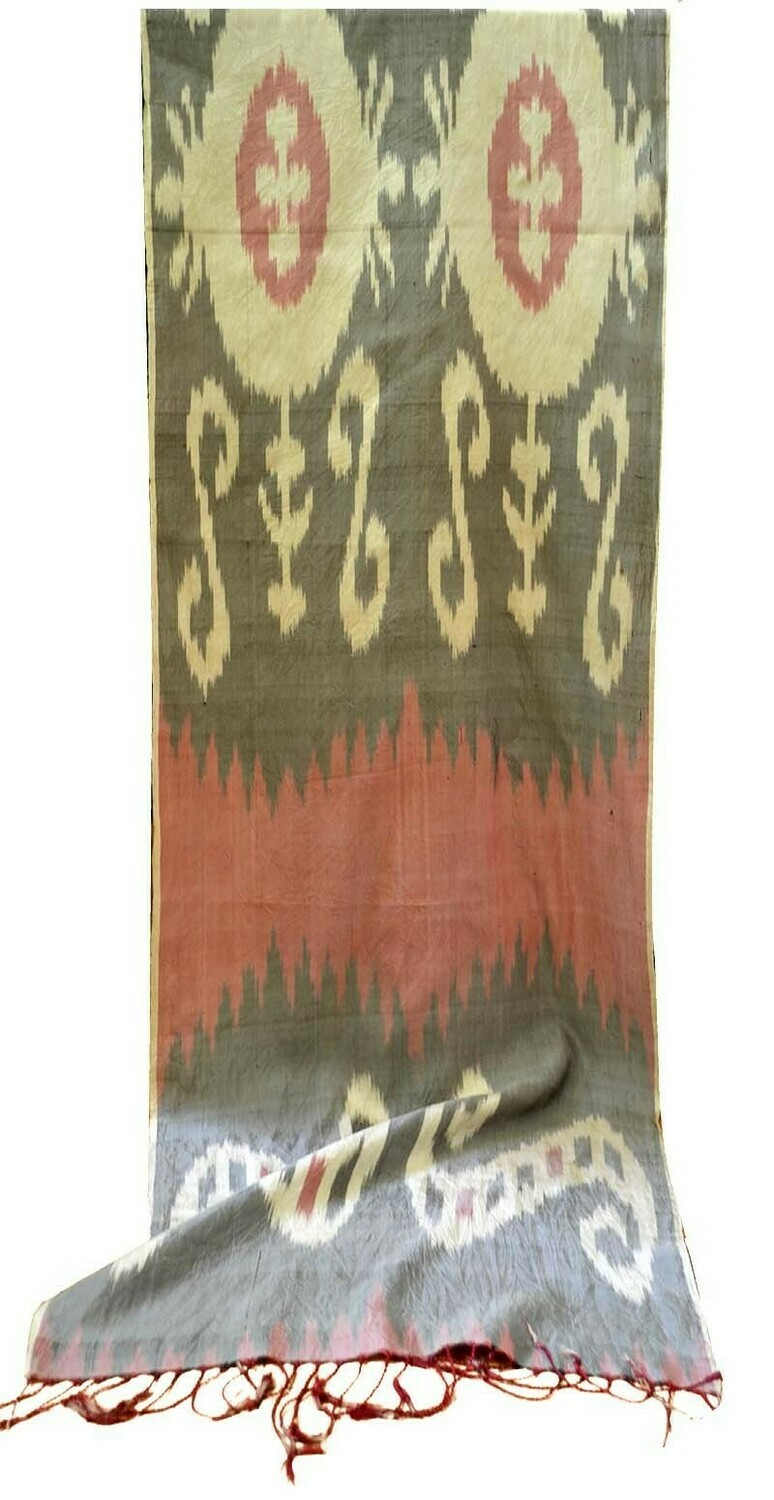 """""""Legacy"""" taupe, beige and coral pure silk ikat scarf"""
